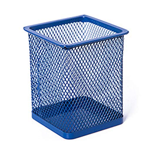YiXing 1 portalápices de malla metálica para escritorio de oficina o escritorio, organizador duradero (color: azul cuadrado)