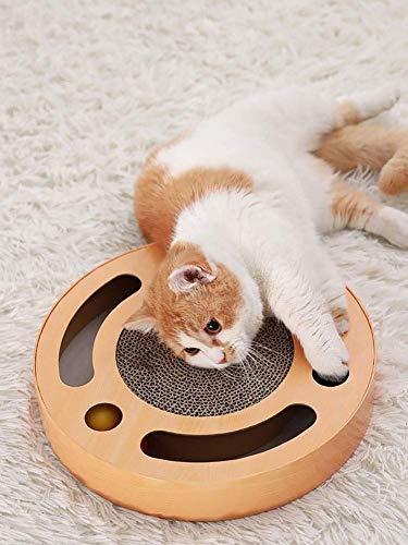Resistente Cartone tiragraffi per Gatti con Erba gatta, Cartone Ondulato tiragraffi per Gatti, Tappetino per Gatti, Artiglio abrasivo con Campana Rotonda