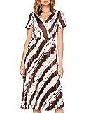 s.Oliver BLACK LABEL Damen Midikleid im Batik-Look Cream Stripes 36