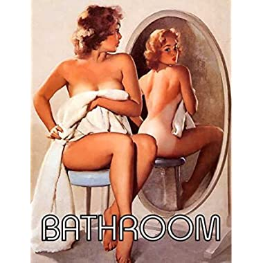 Pin up girl mirror bathroom retro shabby chic vintage style framed print vintage style picture wall plaque sign (A5)
