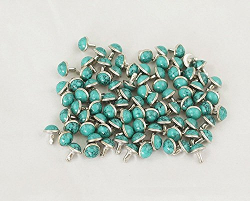 Happy E-life 20 PCS Beautiful DIY Buttons Turquoise Rapid Rivets Studs DIY Leather-Craft for Bag Shoes Bracelet Tandy Leather Lake blue