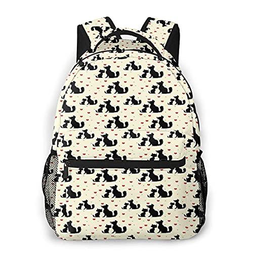 Siluetas negras de perro y gato con corazones rojos mochila escolar para escuela secundaria universitaria, estudiante, libros, computadora portátil, bolsa casual