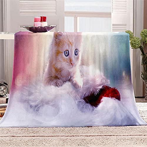 Mantas para Cama de Franela 150x200cm Manta Polar 100% Microfibra Extra Suave Manta de bebé Cálido Saludables y Duraderas también Puede para Mascotas - Lindo Gato