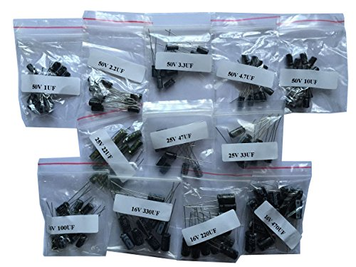 120pcs - 12 Values (1uF-470uF) Electrolytic Capacitors kit (50V 1uF)