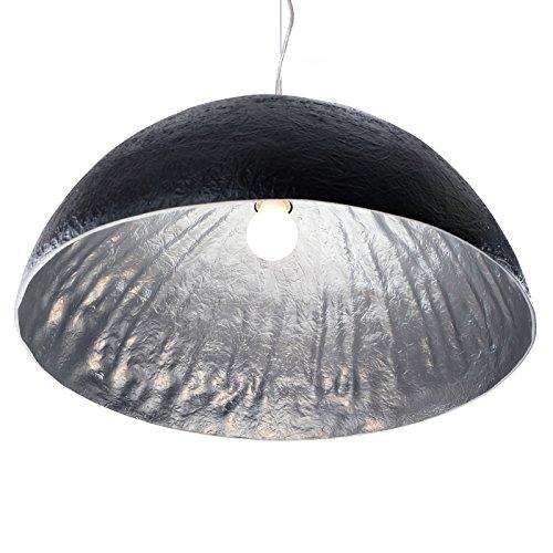 DESIGN DELIGHTS Lampe de Plafond « Moonrais » en Fibre de Verre, Noir/Argent, Ø 50 cm Suspension