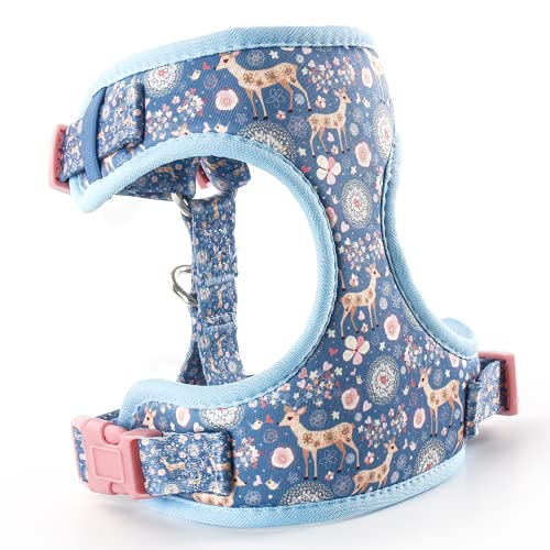 """QQPETS No Pull Dog Harness: Soft Breathable Air Mesh Adjustable Front Clip Puppy Vest with Floral Pattern for Small Medium Pet Easy Walking (S (Chest: 16""""-23""""), Blue Sika Deer)"""