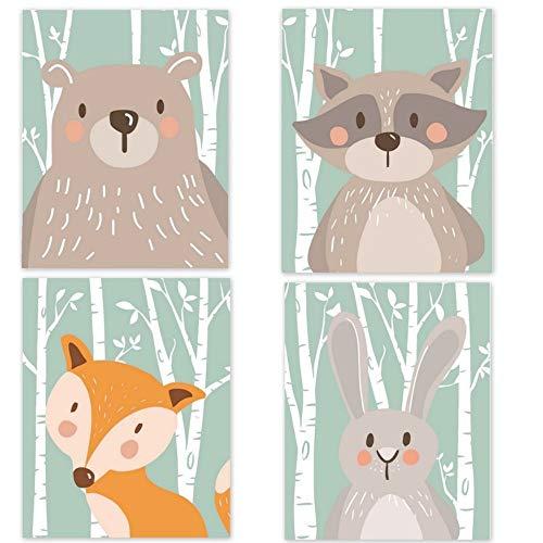 4er Set Babyzimmer Bilder Tier Kinderzimmer Deko Junge Mädchen Tiere Poster für Kinder Kinderzimmer Poster Babyzimmer Poster Bilder Din A4 kinderposter Dekoration