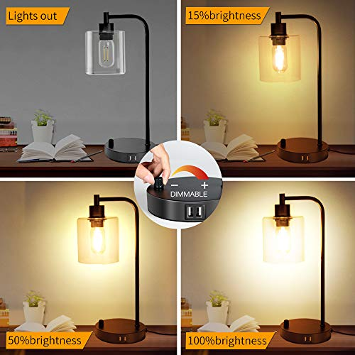 Industrial Table Lamp, Fully Dimmable Modern Nightstand Lamp with Dual USB Port