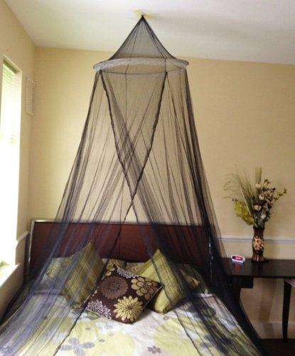 A-Express Moskitonetz Baldachin Mückennetz Betthimmel mit einem Eingang romantischer Schutz vor Insekten Schlafzimmer Fliegennetz 2.5m Höhe x 10m Rund - Schwarz