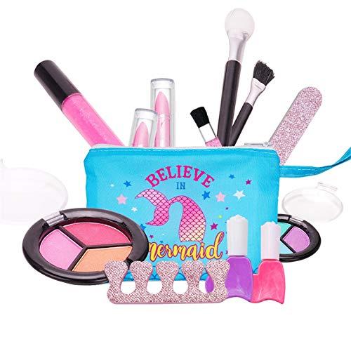 bluesa 14pcs Caja De Maquillaje para Niñas Juego De Maquillaje para Niñas, Kit De Maquillaje Niña Lavable, Seguro, No Tóx-ICO, con Maletín De Maquillaje, para Princesas Pequeñas En Fiesta Cumpleaños