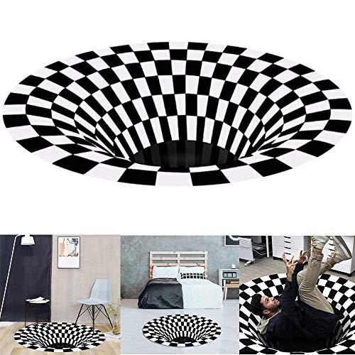 MEISHANG 3D Visual Illusion Rutschfester Teppich,Vortex Teppich Rund,Teppich Dreidimensionaler Schwarzweiß,Runder Teppich,3D Illusion Teppich Teppich,Vortex Teppich Rund