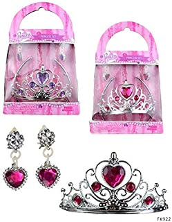 Princess Expressions Princess Dress Up Box 2PC Tiara and Clip On Earrings Playtime Costume Kit for Toddlers and Girls