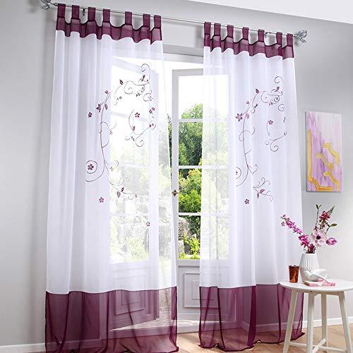 Souarts Stickerei Gardine Vorhang mit Schlaufen Transparent Schlaufenschal für Wohnzimmer Schlafzimmer Studierzimmer Blumen 1er Grau (140cmx145cm, Lila)