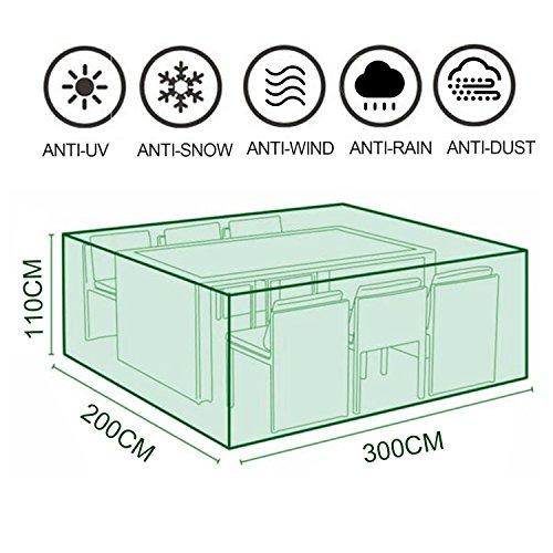 MOVEONSTEP Funda para Muebles de Jardín Impermeable Rectangular Cubierta Protectora para Sillas Sofás Mesas de Exterior 300x200x110CM + 12M Asegurar Cuerda