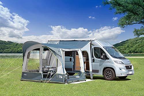 Beauty.Scouts Busvorzelt Zelt Dennis 520x320x245-280cm grau schlicht wasserabweisend brandversiegelt Buszelt Bullizelt schnellaufbau mit Tür und Fenster Vorzelt