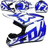 POPQ Casco de Motocicleta, Vasco de Motocross de Cara Completa para Adultos, Casco de Descenso para Niños con Guantes/Gafas/Máscara/Red de Bungy para BMX MTB MTB (Azul Blanco)- M