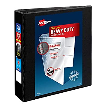 Avery Heavy-Duty View 3 Ring Binder 2  One Touch Slant Rings Holds 8.5  x 11  Paper 1 Black Binder  05500