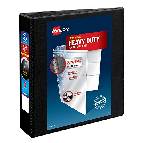 Avery Heavy-Duty View 3 Ring Binder, 2 One Touch Slant Rings, Holds 8.5 x 11 Paper, 1 Black Binder (05500)