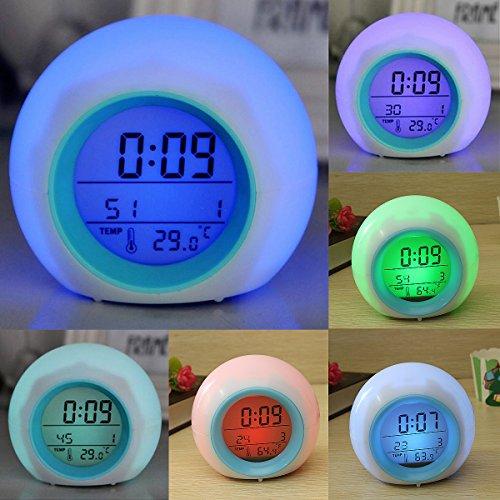 Bluelover Digitale LED 7 kleuren wisselend alarm klok thermometer natuur geluid