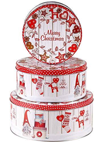 khevga Keksdose Weihnachten Blech Plätzchendose Set (flach, rot-weiß)