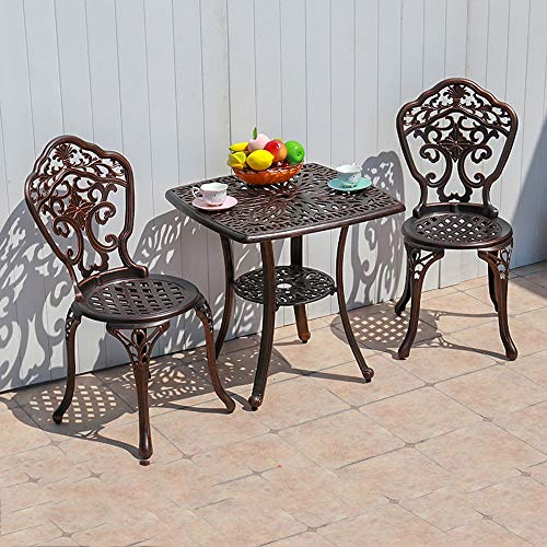 DYYD Juegos de Muebles de jardín Mesa y sillas al Aire Libre Set Tabla fundición de Aluminio de Todo Tipo de Clima Bistro Mesa y sillas for el balcón, Junto a la Piscina, Patio Trasero Comedor