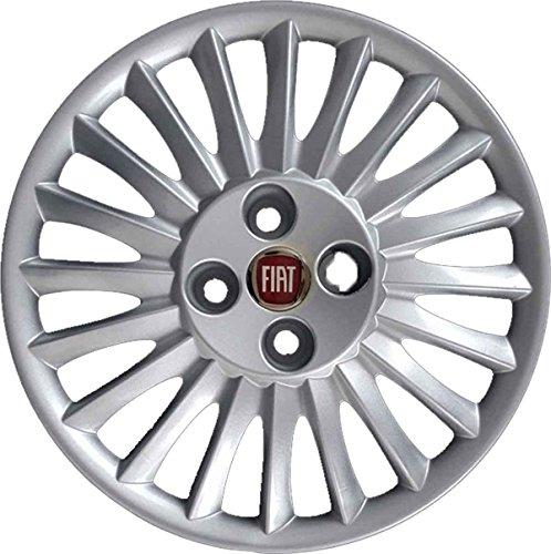 Aftermarket 15-Zoll-Radkappen (38cm), 4 Stück, für Fiat Grande Punto ab Baujahr 2005, mit rotem Logo, nicht original