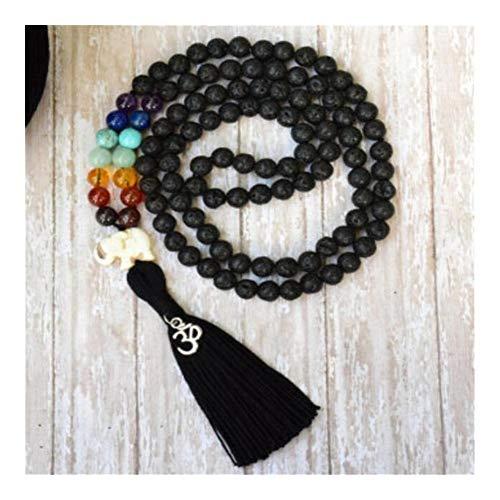 Roca de la Lava 8MM 108 Collares de la Borla de Lucky Ore Multicolor Hombres Mala Espiritualidad Meditación Yoga Sutra Manguito Budismo Collares