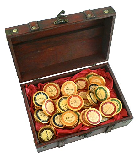 Mini-Schatztruhe Schoko-Schätze, Schokoladentaler, Herkunftsschokoladen aus 6 Ländern