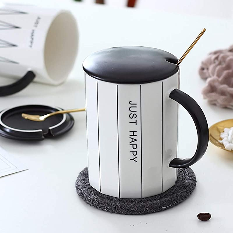 Ceramic Mug Coffee Cup Set Watershed Creative Home Office Tea Cup Coffee Mug Set With Lid And Stainless Steel Teaspoon Gifts For Friends And Family 12oz 380ml Straight Grain