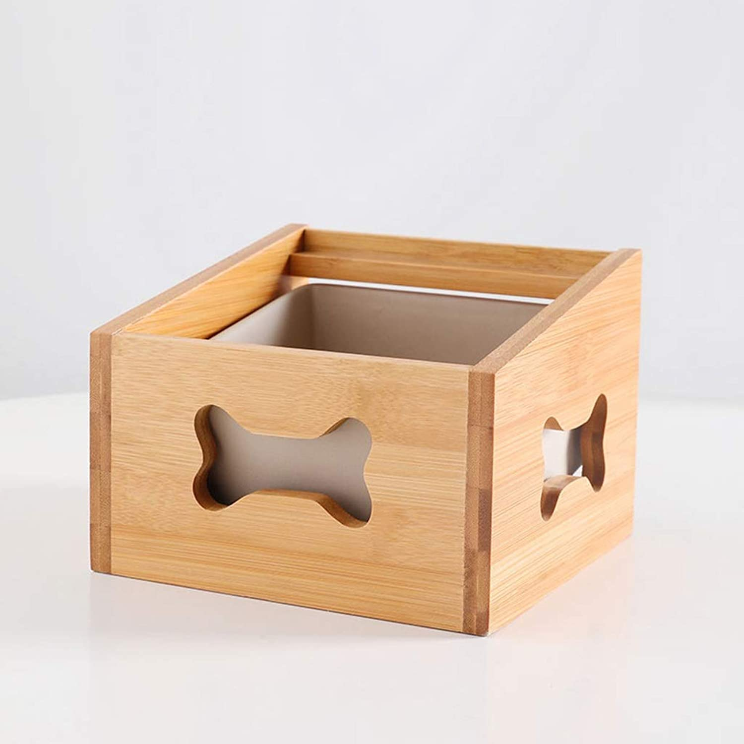 Dog Feeder or Basic Cat Bowls with Wooden Stand Pet Dining Table Cat Feeder,Storage Function Raised Wooden Stand for Cats and Puppy (color   B)