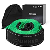 BUNKER INDUST Recovery Towing Strap 3' x 20ft Heavy Duty 30,000 lbs Vehicle Tow Rope with Storage Bag -Emergency Off Road Truck Accessories Towing Winch Snatch Strap Green