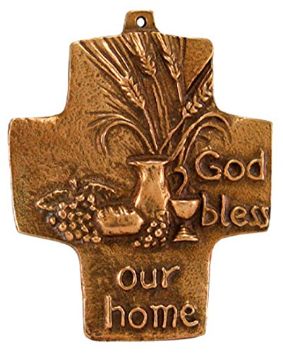 Beautiful God Bless Our Home Solid Bronze Cross. Made in Germany.Gift Box Included.