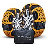 Nyo Snow Chains, Tire Chain for Passenger Cars, Anti Slip Emergency Tire Chains, Snow Wheel Chains for Most Cars SUV ATV Trucks - 6 Pack for Universal Tyre Width (tire chain-huang-6p)