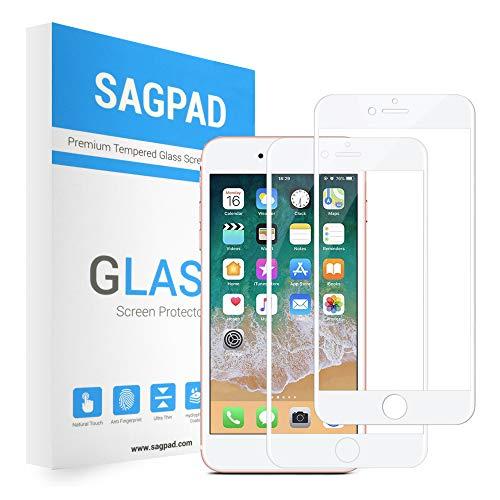 SAGPAD [2 Piezas] Cristal Templado para iPhone 6/ 6s, Cubierta Completa Vidrio Templado 9H Protector Pantalla Premium, Anti-Huella Digital, Anti-Burbujas par 6/6s (Blanco)