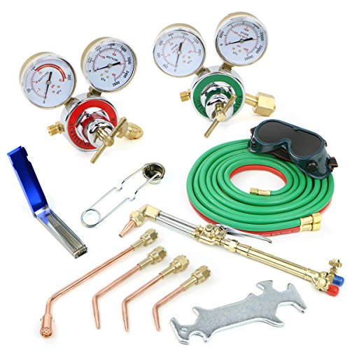 Stark Gas Welding & Cutting Torch Kit Oxy Acetylene Oxygen Brazing Professional Set Victor Type, Carrying Case