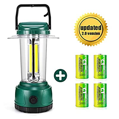 DOZAWA LED Camping Lantern Battery Powered 2000 Lumen COB Camping Light 4D Batteries(Included) Perfect for Hurricane, Camping, Emergency Kit,Green