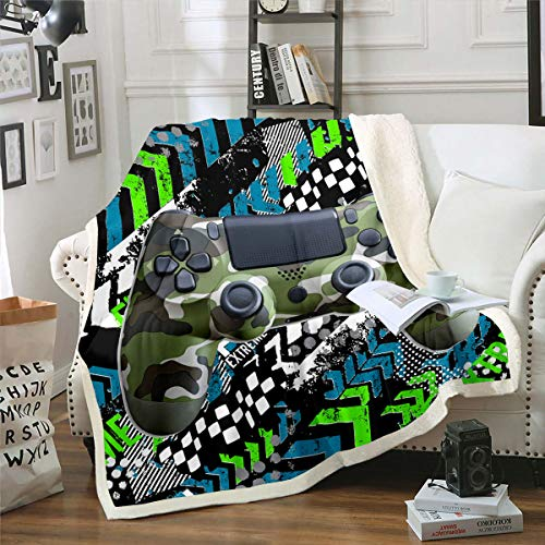 Boys Camouflage Gamepad Bed Blanket, Kids Gaming Room Throw Blanket Video Games Gamer Sherpa Fleece Blanket for Girls Teens Man, Sport Car Wheel Printed Design Flannel Blanket Queen 90'x90'