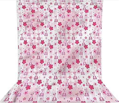 Fondo de fotografía de 1,5 x 2,1 m, diseño de conejo de peluche con flores de microfibra de tela de forro polar, con bolsillo para barra (solo telón de fondo) para cumpleaños, bodas, fiestas temáticas