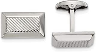 Stainless Steel Polished Textured Rectangle Cufflinks