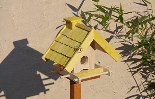 Vogelfutterhaus,BEL-X-VOWA3-gelb002 Großes Vogelhäuschen + 5 SITZSTANGEN, KOMPLETT mit Futtersilo + SICHTGLAS für Vorrat PREMIUM Vogelhaus – ideal zur WANDBESTIGUNG – vogelhäuschen, Futterhäuschen WETTERFEST, QUALITÄTS-SCHREINERARBEIT-aus 100% Vollholz, Holz Futterhaus für Vögel, MIT FUTTERSCHACHT Futtervorrat, Vogelfutter-Station Farbe gelb kräftig sonnengelb goldgelb, MIT TIEFEM WETTERSCHUTZ-DACH für trockenes Futter - 2