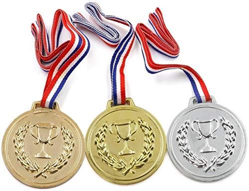 20 Paquets De Prix École Prix Sports Jour Jeux Olympiques Doré Argenté Bronze Winner Plastique Médailles