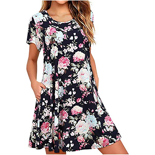 Oversized Midi Tshirt Dress for Women, Casual Loose Plus Size Long Sleeve Tunic Dresses with Pockets Pink