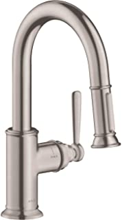 AXOR Montreux Luxury 1-Handle 13-inch Tall Stainless Steel Kitchen Faucet with Pull Down Sprayer Magnetic Docking Spray Head in Steel Optic, 16584801