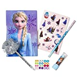 Tri-Coastal Design Frozen 2 DIY Glam It Up Personalized Journal Stationery Set with Sticker Sheet, Jeweled Gem Stickers, Tinsel Top Pen, Pencil and Lipstick Eraser