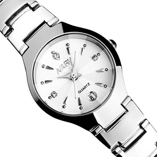 IEason,Women Single Calendar Quartz Stainless Steel Date Wrist Watches (White)