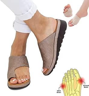 KKLU Women Sandal Comfy Platform Sandal Shoes 2019 New Summer Slides Slippers Sandal Toe Platform Flip Flop Shoes Beach Travel Shoes + Bunion Corrector