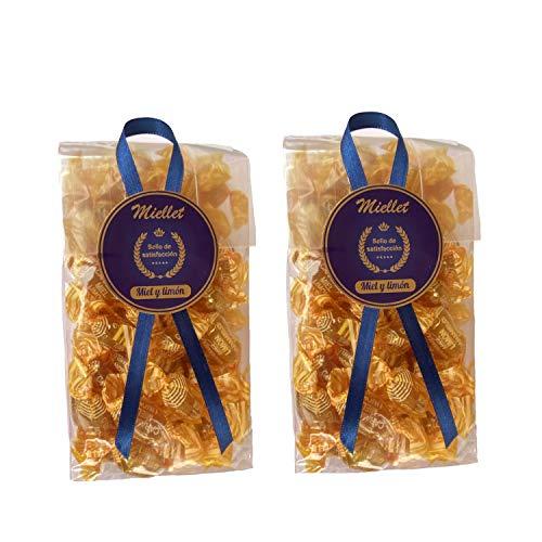 500 gr (PACK 2 BOLSAS) - Miellet - Miel & Limón - Caramelos artesanales con miel de origen español. Suaviza la garganta, evita la tos y tiene propiedades antisépticas. SIN GLUTEN