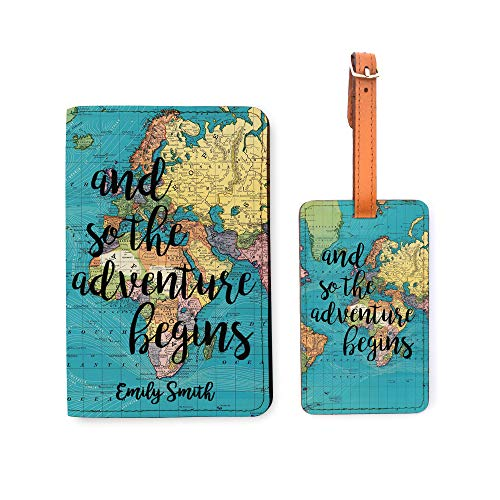 Personalized RFID Passport Holder Luggage Tag Set - Travel Wallet - World Map