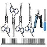 MAOCG Dog Grooming Scissors Set, Safety Round Blunt Tip Grooming Tools, Professional Curved,Thinning,Straight Scissors Kit with Comb,nail cliper and nail file,Grooming Shears for Dogs and Cats.