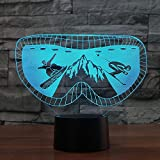 3D Ski Goggles Moulding Night Light Touch Switch 7 Color Change LED Table Desk Lamp Acrylic Flat ABS...